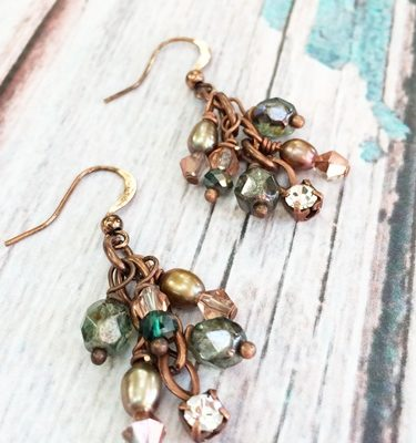 Copper and Pearl Earrings v3