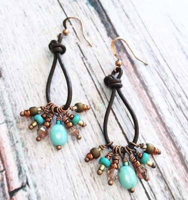 Turquoise and Leather Earrings v2