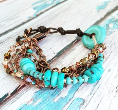 Turquoise and Leather Multi Strand Bracelet cover