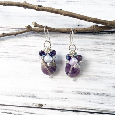 Amethyst Drop & Cluster Earrings SP16