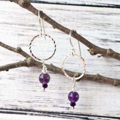 Amethyst & Silver Circle Earrings SP16