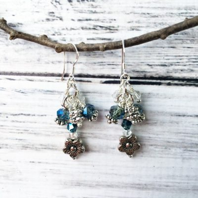 Blue Crystal & Daisy Earrings
