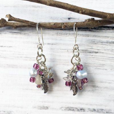 Lavender pearl & Leaf earrings SP16