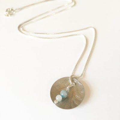 Aquamarine Embossed Necklace