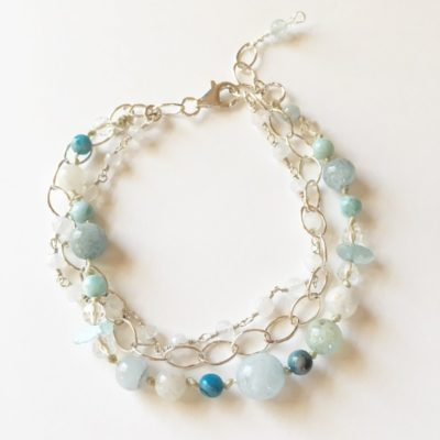 Aquamarine & Moonstone 3-strand Bracelet