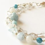 Aquamarine & Moonstone 3-strand Bracelet closeup