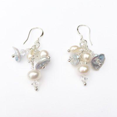 Pearls of the Sea Cluster Earrings