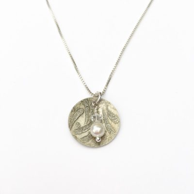 Pearls of the Sea Etched Disk Necklace