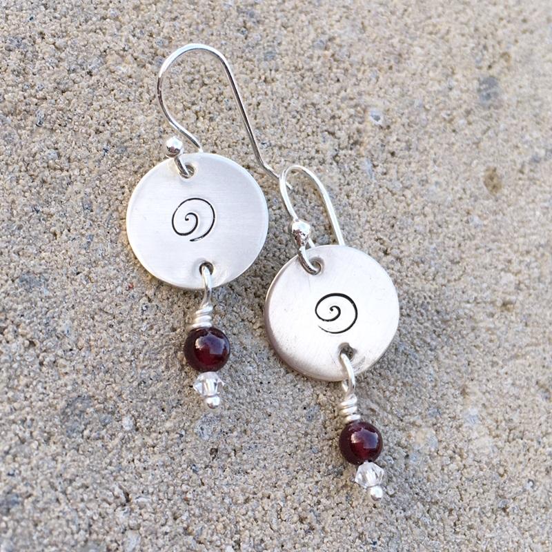 Garnet Silver Disk Earrings